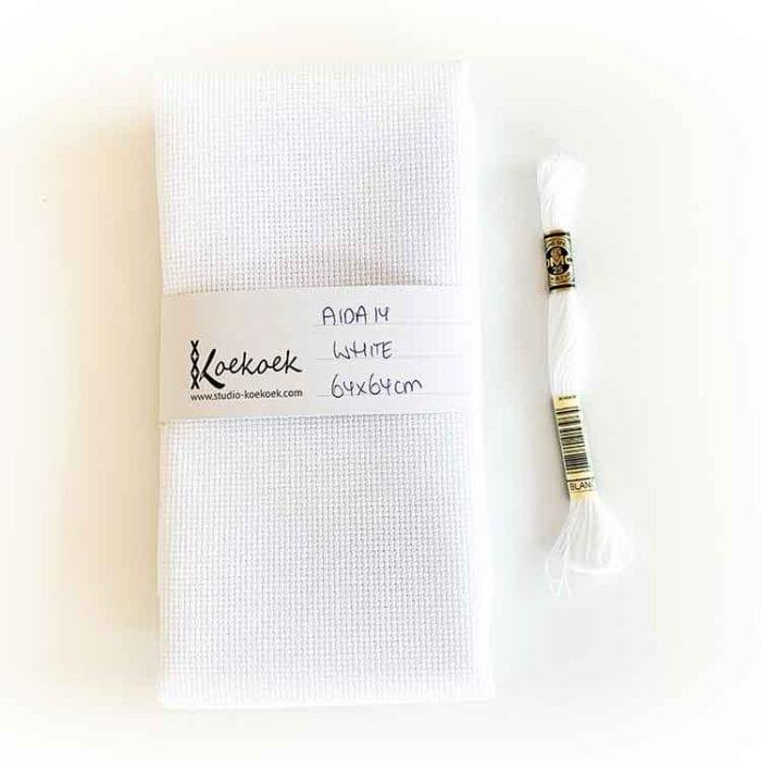 white aida 14 count cross stitch fabric
