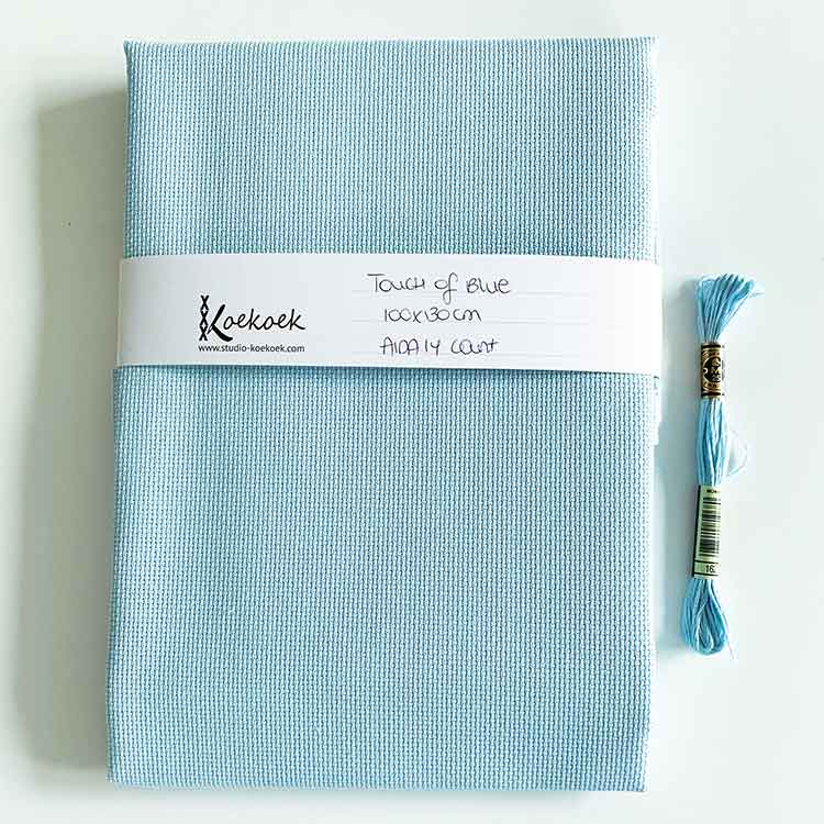 touch of blue aida 14 cross stitch fabric