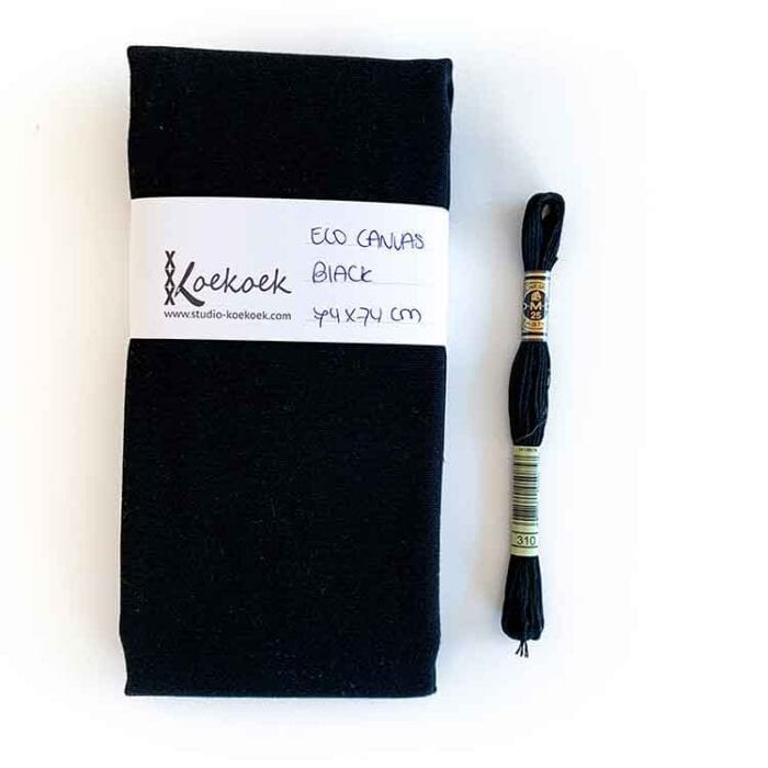black ecological embroidery canvas