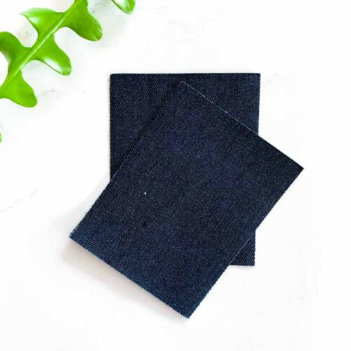 dark blue jeans repair patch