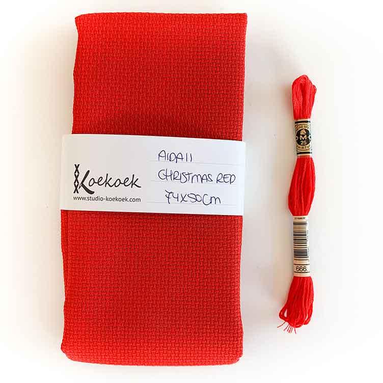 christmas red aida 11 cross stitch fabric