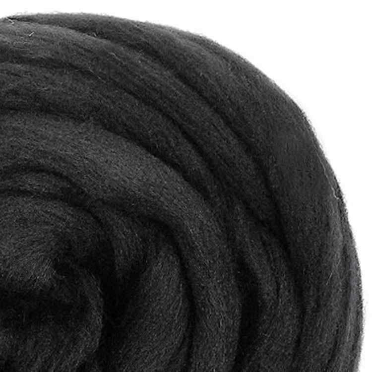 Charcoal ecological wool roving for weaving xxl knitting