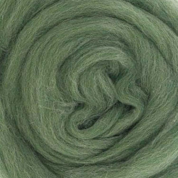 green mix wool roving european wool