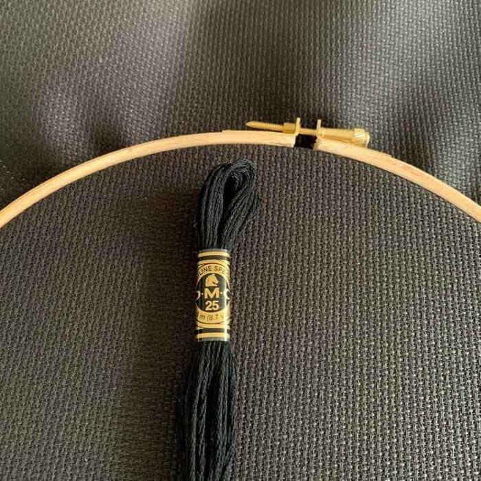 black aida 14 count cross stitch fabric
