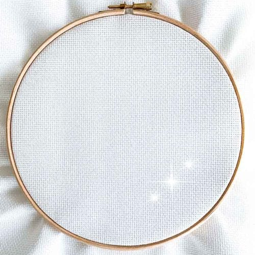Iridescent white aida 14 count cross stitch fabric