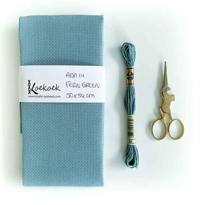 fern green aida 14 count cross stitch fabric