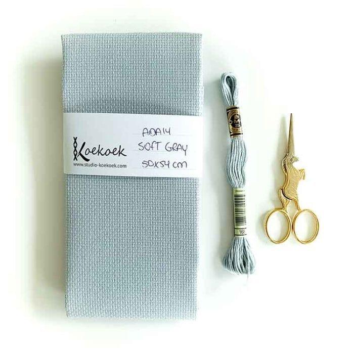 Soft Gray cross stitch fabric Aida 14