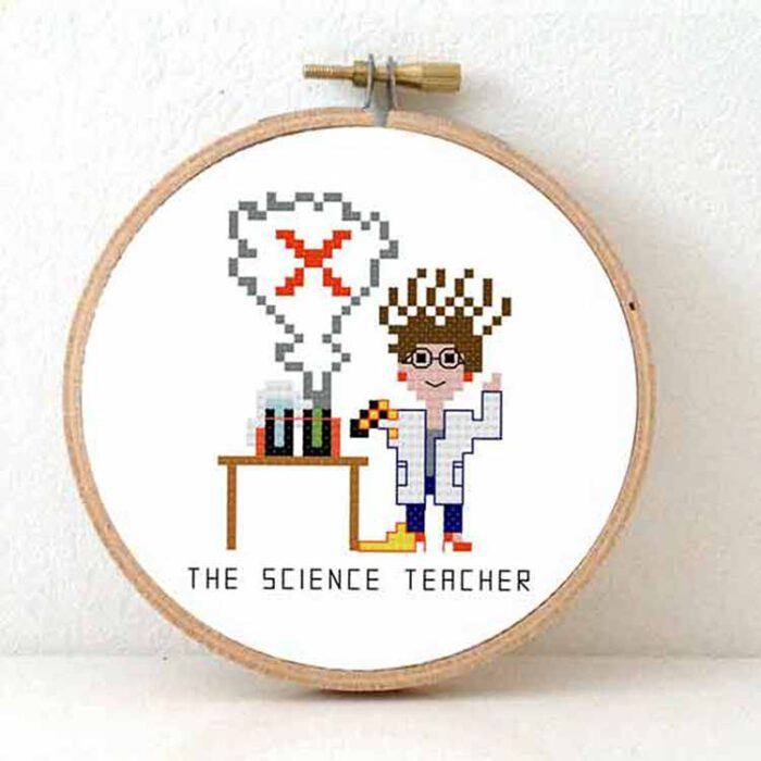 female science teacher cross stitch pattern