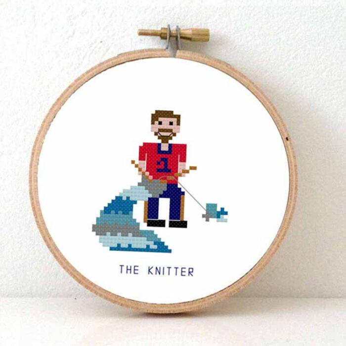male knitter cross stitch pattern