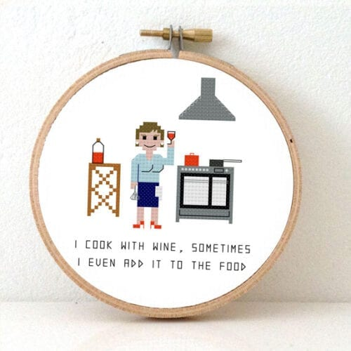 gift for female chef cross stitch pattern