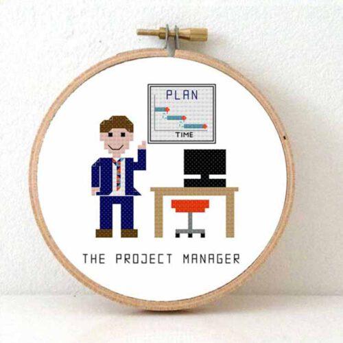 male project manager cross stitch pattern