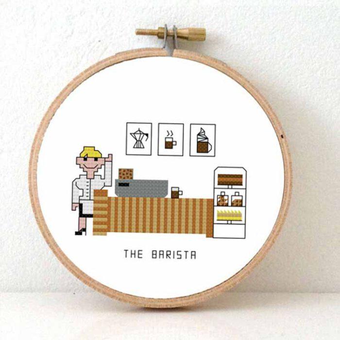 Female barista cross stitch pattern