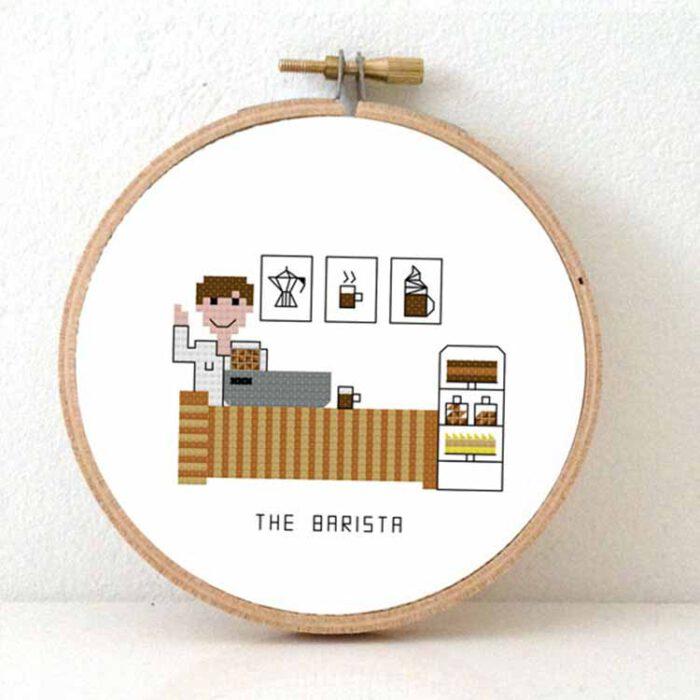 Male barista cross stitch pattern