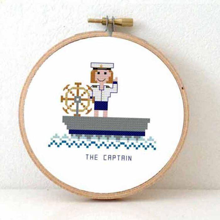 female boat captain cross stitch pattern