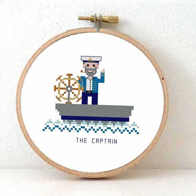 male boat captain cross stitch pattern