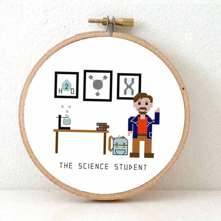Stitchajob male science student cross stitch pattern