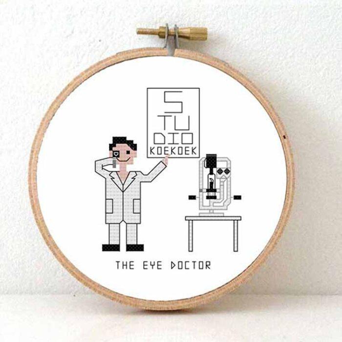 male eye doctor cross stitch pattern