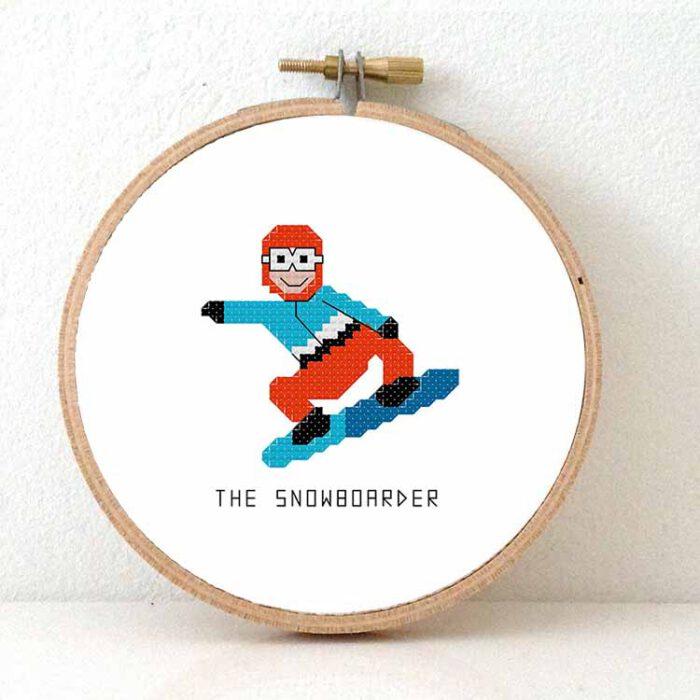 male snowboarder cross stitch pattern