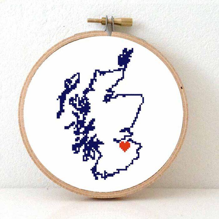 Stitchamap - Scotland map cross stitch pattern