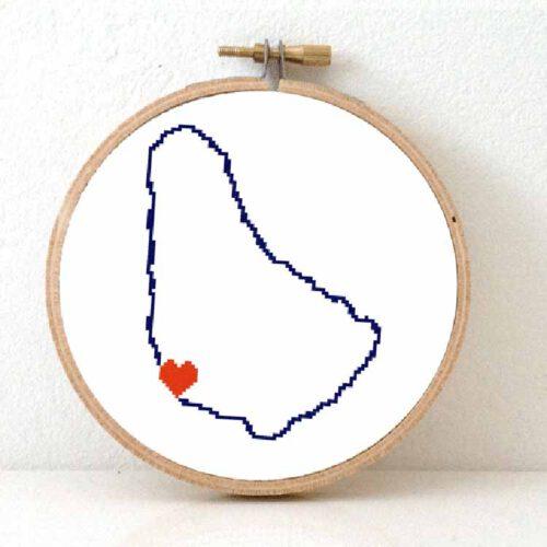 Stitchamap Barbados map cross stitch pattern