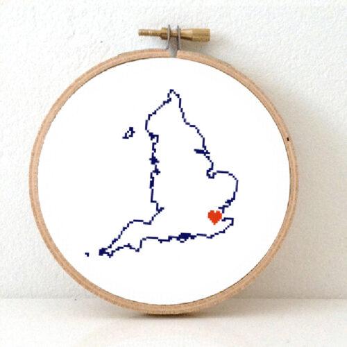 Stitchamap England map cross stitch pattern
