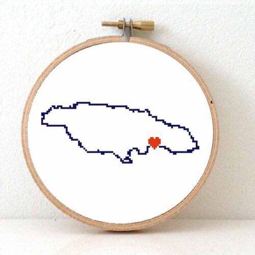 Stitchamap Jamaica map cross stitch pattern
