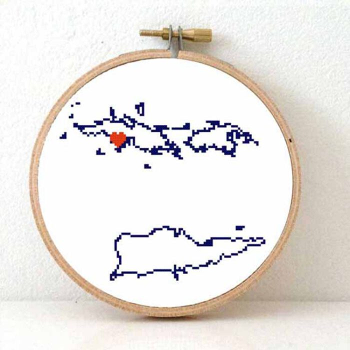 Stitchamap US virgin Islands map cross stitch pattern