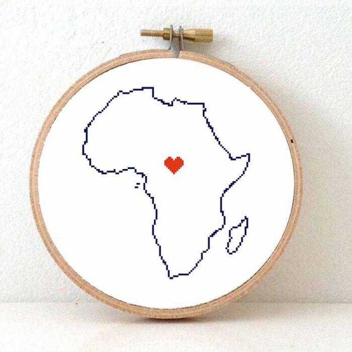 Africa map cross stitch pattern