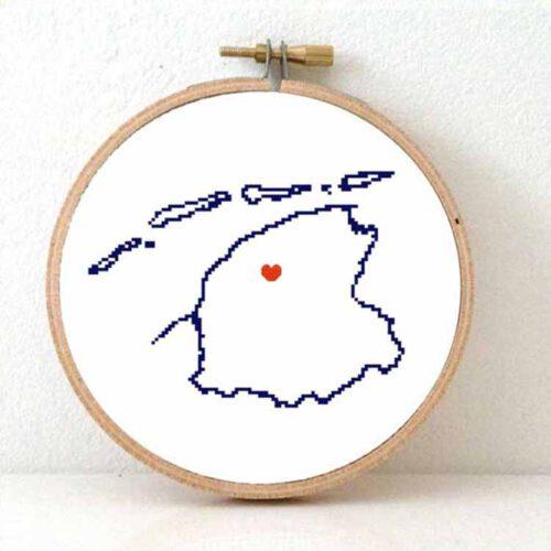 Stitchamap Dutch Province Friesland map cross stitch pattern