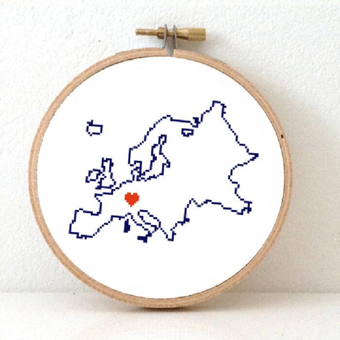 Stitchamap - continents - Europe map cross stitch pattern