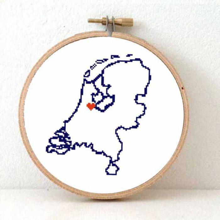Stitchamap - netherlands map cross stitch pattern