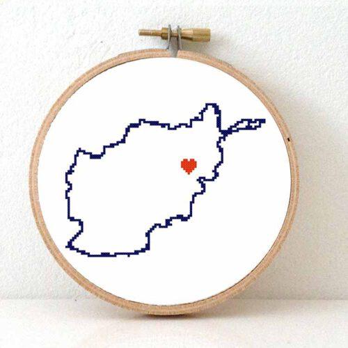 Stitchamap Afghanistan map cross stitch pattern