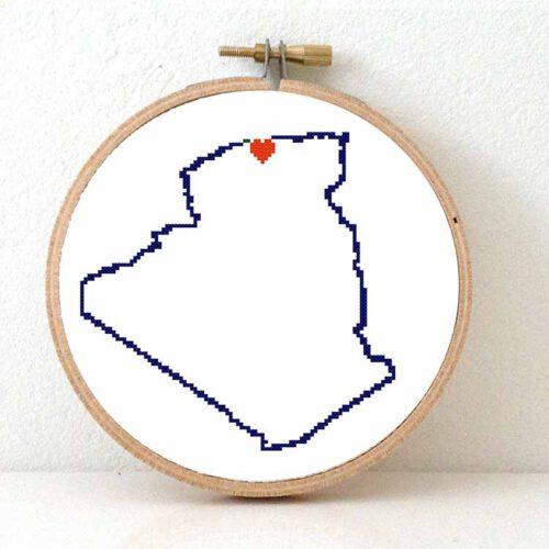 Stitchamap Algeria map cross stitch pattern
