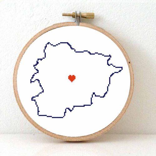 Stitchamap Andorra map cross stitch pattern