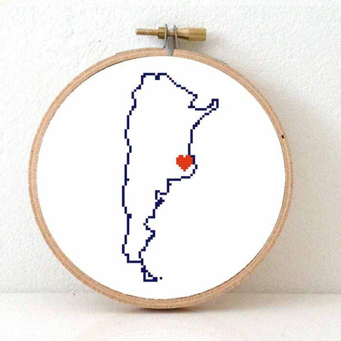 Stitchamap - Argentina map cross stitch pattern