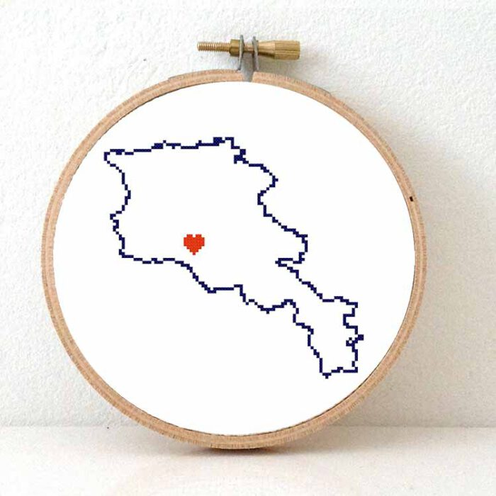 stitchamap - armenia map cross stitch pattern