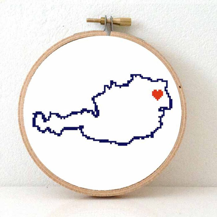 Stitchamap - austria map cross stitch pattern