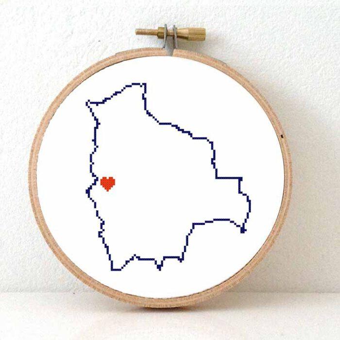 Stitchamap Bolivia map cross stitch pattern