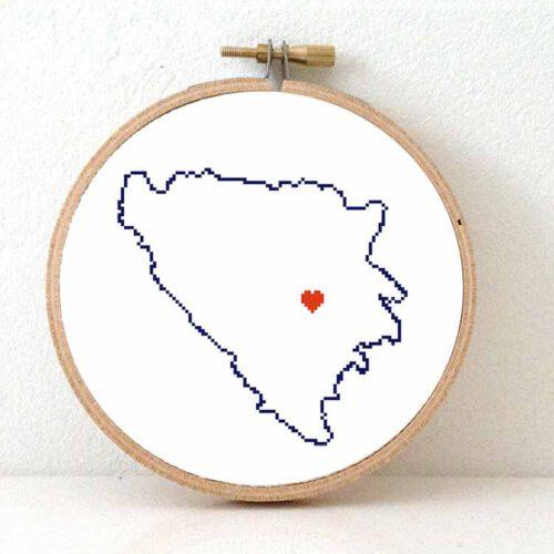 Stitchamap Bosnia and Herzegovina map cross stitch pattern
