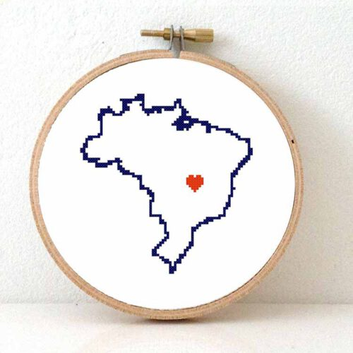 Brazil map cross stitch pattern