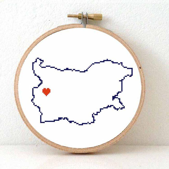 Stitchamap - Bulgaria map cross stitch pattern