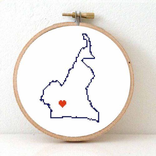 Stitchamap Cameroon map cross stitch pattern