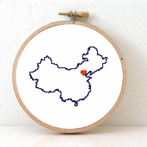 China map cross stitch pattern