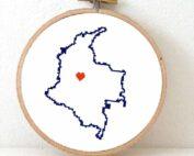 Stitchamap Colombia map cross stitch pattern