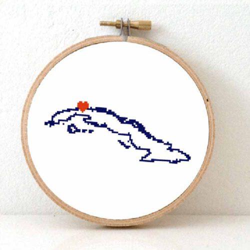 Stitchamap Cuba map cross stitch pattern