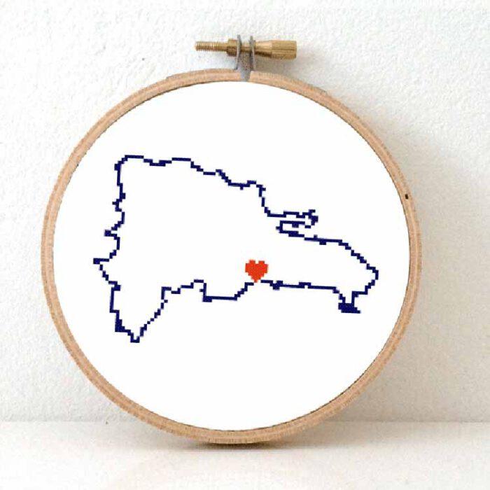 Stitchamap Dominican Republic map cross stitch pattern