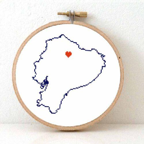 Stitchamap Ecuador map cross stitch pattern