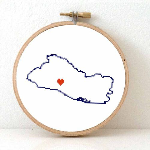 Stitchamap El Salvador map cross stitch pattern