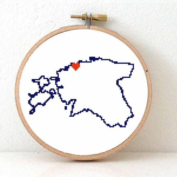 Stitchamap Estonia map cross stitch pattern