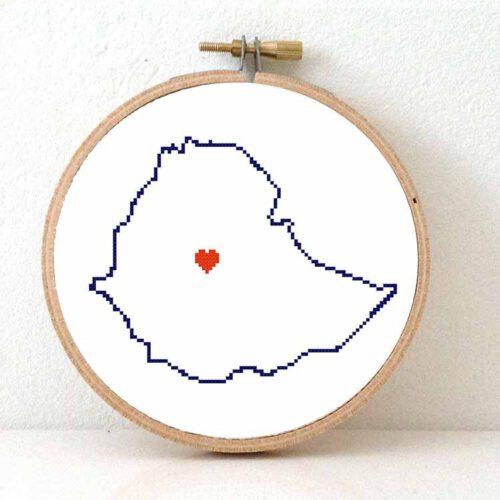 Stitchamap Ethiopia map cross stitch pattern